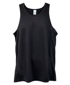 Mens Poly Sports Singlet - Black, Small