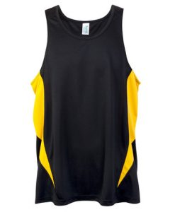 Mens Poly Sports Singlet - Black/Gold, Large