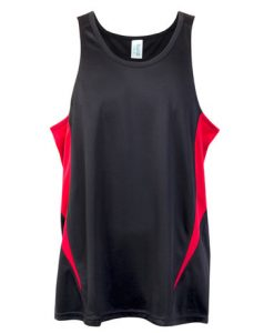 Mens Poly Sports Singlet - Black/Red, XL