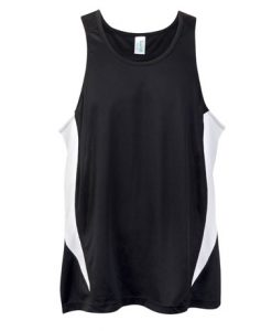 Mens Poly Sports Singlet - Black/White, Large
