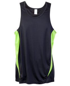 Mens Poly Sports Singlet - Charcoal/Lime, Large
