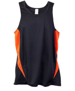 Mens Poly Sports Singlet - Charcoal/Orange, Large