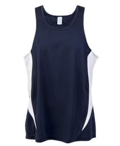 Mens Poly Sports Singlet - Navy/White, Large