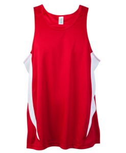 Mens Poly Sports Singlet - Red/White, XL