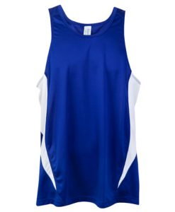 Mens Poly Sports Singlet - Royal/White, Small