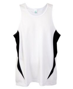 Mens Poly Sports Singlet - White/Black, Small