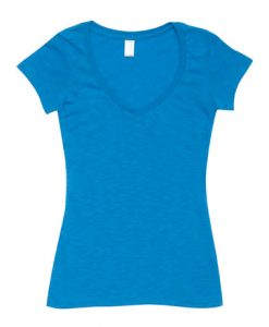 Womens Raw Vee Tee - Azure, 16
