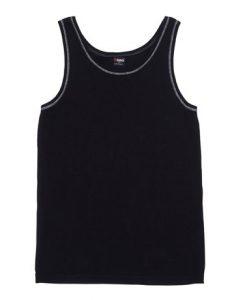 Mens Rib Singlet - Black/White, Medium