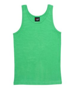 Mens Rib Singlet - Emerald Green, Large