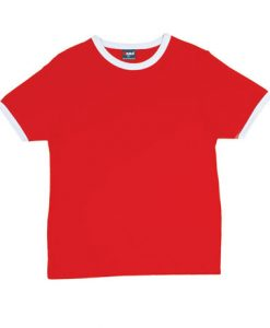 Mens Ringer Tee - Red Body/White Trim, Extra Small