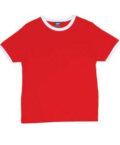 Mens Ringer Tee - Red Body/White Trim, XL
