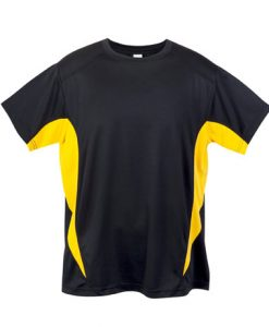 Mens Sports Tee - Black/Gold, XL