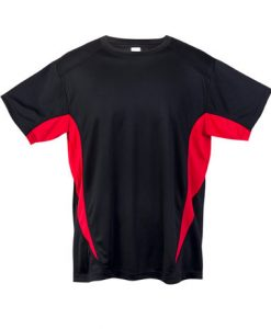 Mens Sports Tee - Black/Red, Large
