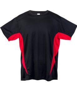 Mens Sports Tee - Black/Red, XL
