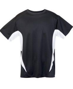 Mens Sports Tee - Black/White, Medium