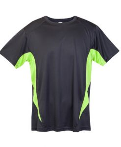 Mens Sports Tee - Charcoal/Lime, 4XL