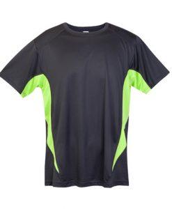 Mens Sports Tee - Charcoal/Lime, Medium