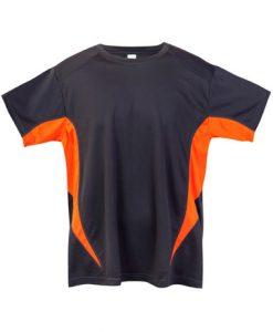 Mens Sports Tee - Charcoal/Orange, 4XL