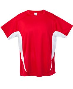 Mens Sports Tee - Red/White, Large