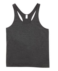 Mens T-back Singlet - Charcoal Marle, Small
