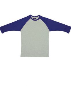 Mens Two Tone 3/4 Tee - Grey/Navy, Large