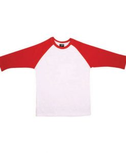 Mens Two Tone 3/4 Tee - White Body/Red Trim, Extra Small
