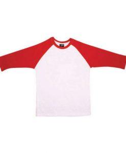 Mens Two Tone 3/4 Tee - White Body/Red Trim, XL