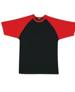 Mens Two Tone Tee - Black/Red, 3XS