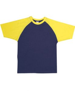 Mens Two Tone Tee - Navy/Yellow, Large