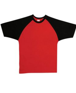 Mens Two Tone Tee - Red/Black, Extra Small
