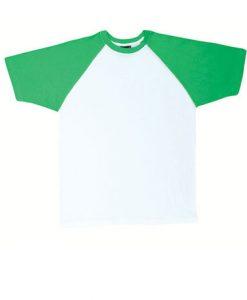 Mens Two Tone Tee - White Body/Emerald, 3XS