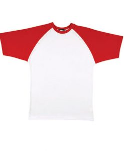 Mens Two Tone Tee - White Body/Red Trim, 3XS