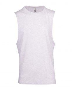 Muscle Tee - Deep cut - White Marl, XL