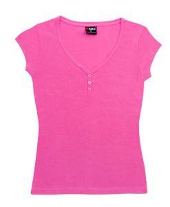Womens Henley Tee - Hot pink, 14