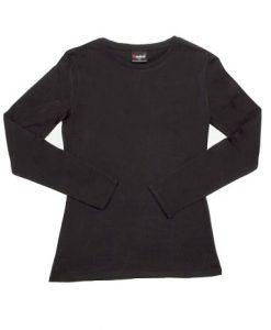 Womens Long Sleeve Tee - Black, 12
