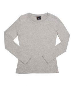 Womens Long Sleeve Tee - Grey Marle, 12