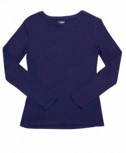 Womens Long Sleeve Tee - Navy, 12
