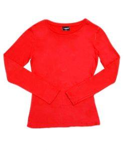Womens Long Sleeve Tee - Red, 12