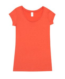 Womens Marl Blend T-Shirt - Coral Red, 22