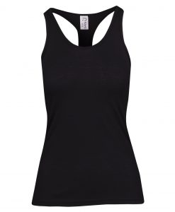 Womens Marl T-Back Singlet - Black