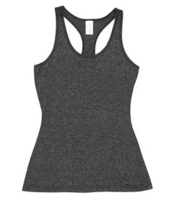 Womens Marl T-Back Singlet - Charcoal, 10
