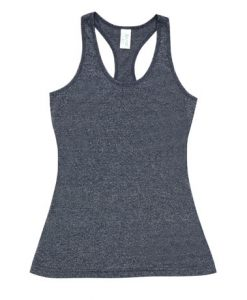 Womens Marl T-Back Singlet - Navy, 8