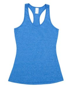 Womens Marl T-Back Singlet - Royal, 16