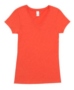 Womens Marl Vee Tee - Coral Red, 18