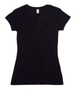 Womens Raw Vee Tee - Black, 8