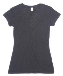 Womens Raw Vee Tee - Charcoal, 12