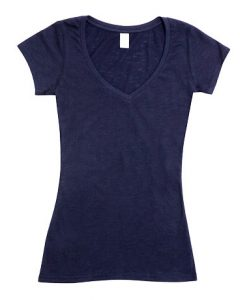Womens Raw Vee Tee - Navy, 8