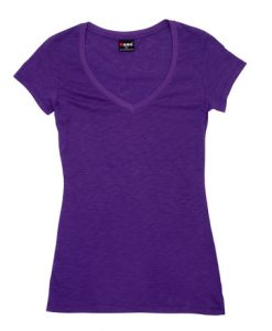 Womens Raw Vee Tee - Purple, 14