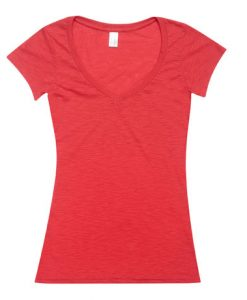 Womens Raw Vee Tee - Red, 14