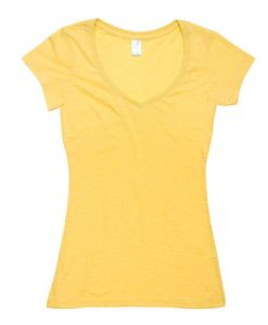 Womens Raw Vee Tee - Yellow, 14